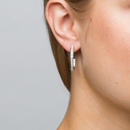 Hoop Earrings with 1 Carat TW of Diamonds in 10kt White Gold