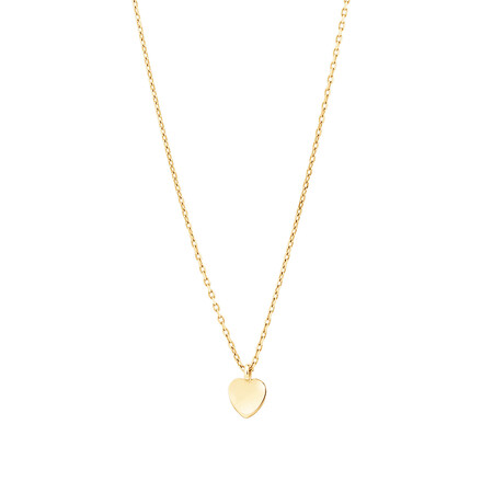 Minimal Heart Disc Necklace In 10kt Yellow Gold
