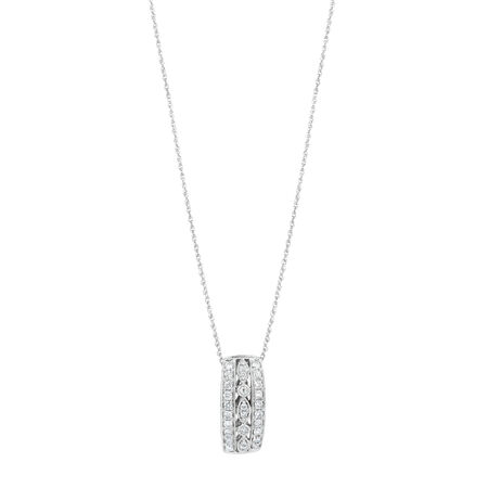 Three Row Pendant with 0.34 Carat TW of Diamonds in 10kt White Gold