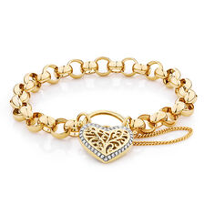 "19cm (7.5"") Rolo Bracelet with 0.30 Carat TW of Diamonds in 10kt Yellow Gold"