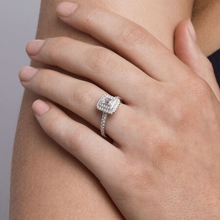 Sir Michael Hill Designer GrandArpeggio Engagement Ring with 1 1/5 Carat TW of Diamonds in 14kt White & Rose Gold