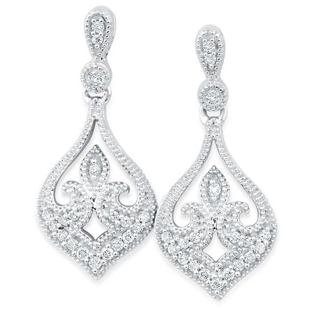 Online Exclusive - Drop Earrings with 0.15 Carat TW of Diamonds in 10kt White Gold