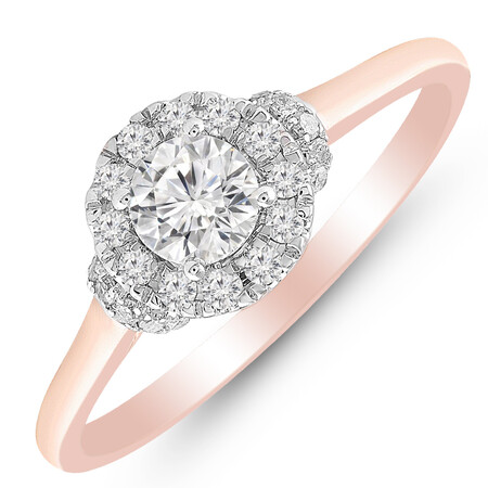 Ring with 0.60 Carat TW of Diamonds in 10kt Rose & White Gold