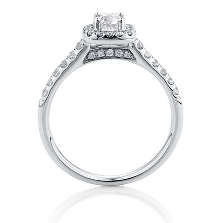 Engagement Ring with 0.80 Carat TW of Diamonds in 14kt White Gold