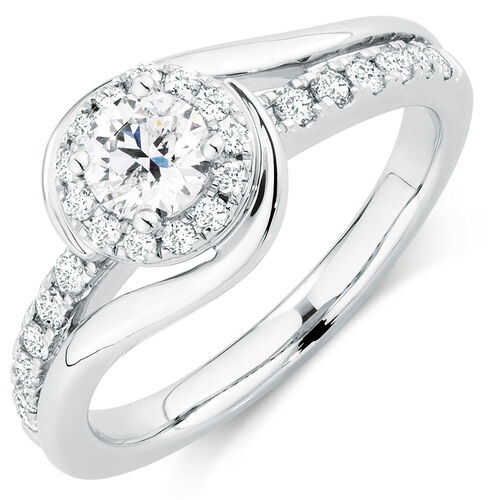 Ideal Cut Engagement Ring with 3/4 Carat TW of Diamonds in 14kt White Gold