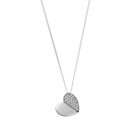 Heart Pendant with White Cubic Zirconia in Sterling Silver