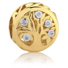 Diamond Set Tree of Life Charm in 10kt Yellow Gold