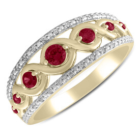 Twist Ring with Created Ruby & Diamond in 10kt Yellow Gold