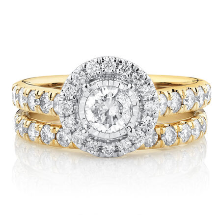 Bridal Set with 1 1/2 Carat TW of Diamonds in 14kt Yellow & White Gold