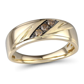 Ring with 0.17 Carat TW of Enhanced Brown Diamonds in 10kt Yellow Gold