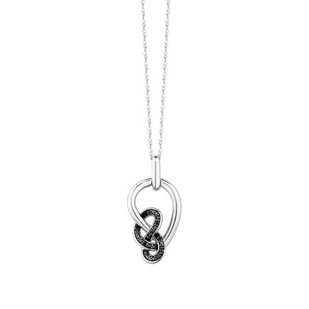 Knots Pendant With 1/8 Carat TW Of Enhanced Black Diamonds In Sterling Silver