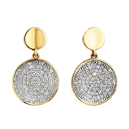 Round Stud Earrings With 1/4 Carat TW Of Diamonds In 10kt Yellow Gold