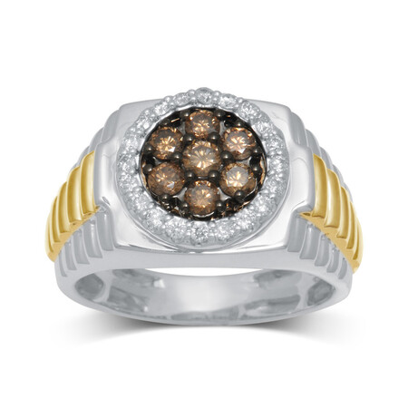 Ring with 1.00 Carat TW of Champagne and White Diamonds in 10kt Yellow and White Gold