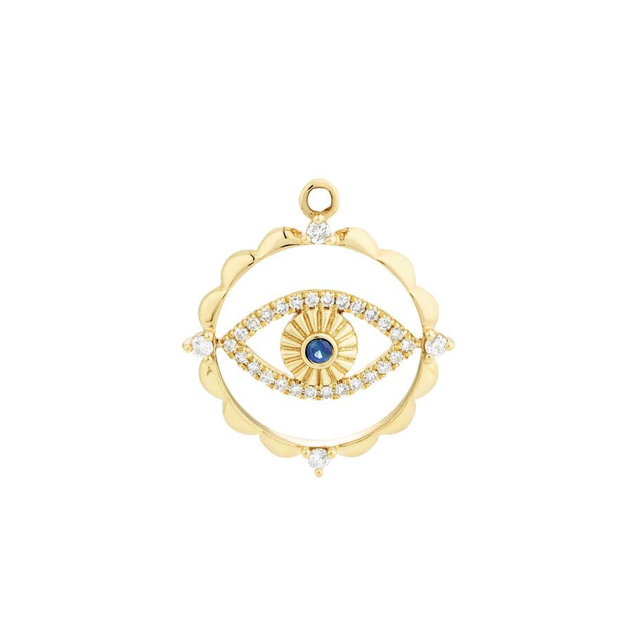 Evil Eye Talisman Pendant with Sapphire & 0.10 Carat of Diamonds in 10kt Yellow Gold