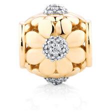 Diamond Set Flower Charm in 10kt Yellow Gold