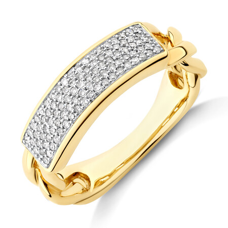 Pave Link Ring with 0.25 Carat TW of Diamonds in 10kt Yellow Gold