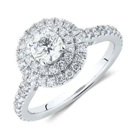 Sir Michael Hill Designer Double Halo Engagement Ring with 1 1/5 Carat TW of Diamonds in 14kt White & Rose Gold