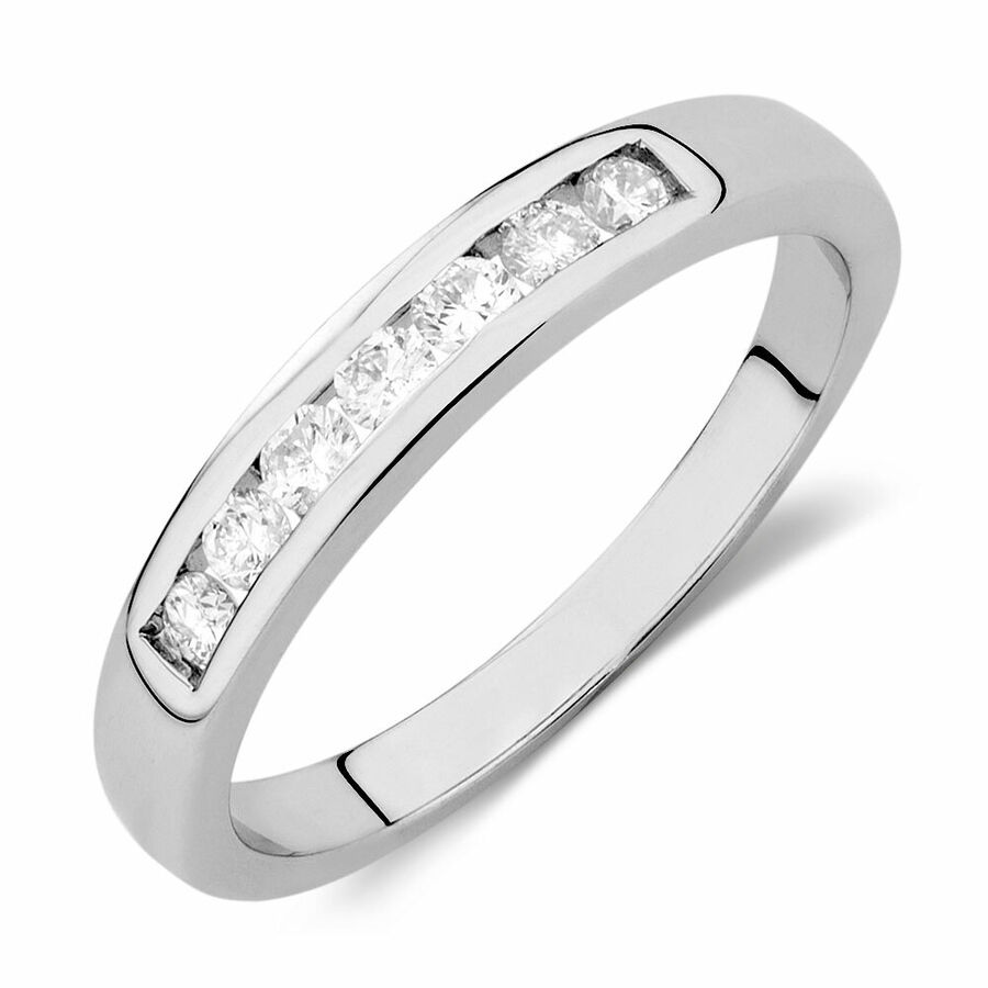 Wedding Band with 1/4 Carat TW of Diamonds in 18kt White Gold