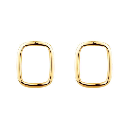 Open Rectangle Stud Earrings in 10kt Yellow Gold