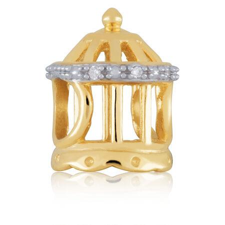 Diamond Set & 10kt Yellow Gold Birdcage Charm