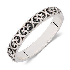 Sterling Silver Oxidised Heart Pattern Stack Ring