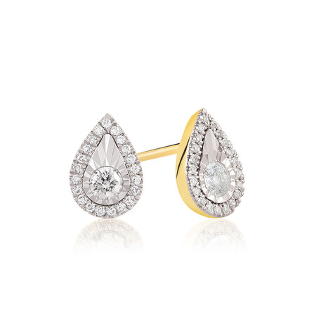 Pear Earrings With 1/4 Carat TW Of Diamonds In 10kt Yellow Gold