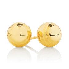 7mm Patterned Stud Earrings in 10kt Yellow Gold