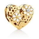 Diamond Set Daisy Heart Charm with Enamel in 10kt Yellow Gold