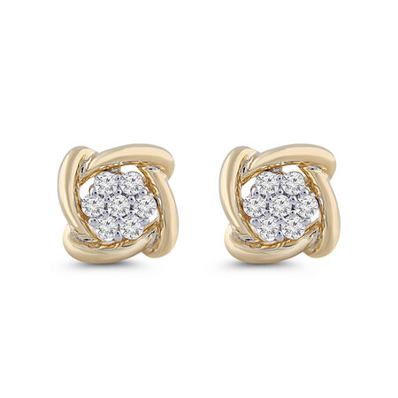 Cluster Stud Earrings with Diamonds in 10kt Yellow Gold