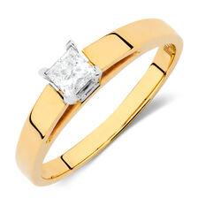 Solitaire Engagement Ring with a 0.23 Carat Diamond in 14kt Yellow & White Gold