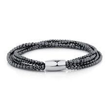 "19cm (7.5"") Wild Hearts Bracelet in Hematite & Stainless Steel"