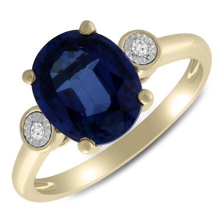 Ring with Created Sapphire & Diamond in 10kt Yellow Gold