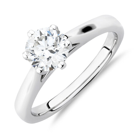 1 Carat Diamond Solitaire Ring in 10kt White Gold