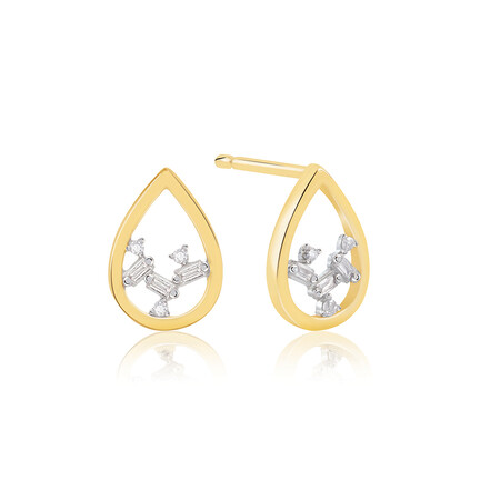 Pear Stud Earrings With Diamonds In 10kt Yellow Gold