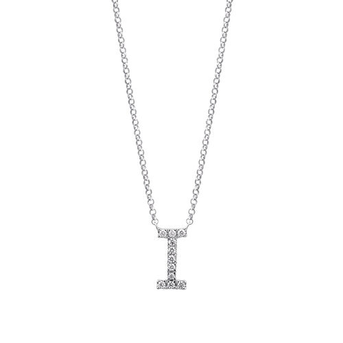 """I"" Initial necklace with 0.10 Carat TW of Diamonds in 10kt White Gold"