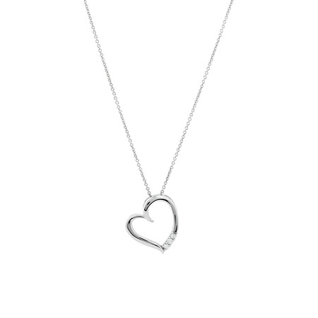 Heart Pendant With Diamonds In Sterling Silver
