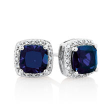Earrings with Created Sapphire & Diamonds in 10kt White Gold