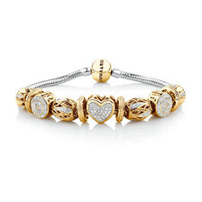 Ready to Wear Charm Bracelet with 0.55 Carat TW of Diamonds in 10kt Yellow Gold & Sterling Silver