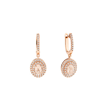 Morganite Double Halo Earrings with 0.38 Carat TW of Diamonds in 10kt Rose Gold
