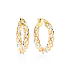 Twist Earrings in 10kt Yellow, White & Rose Gold