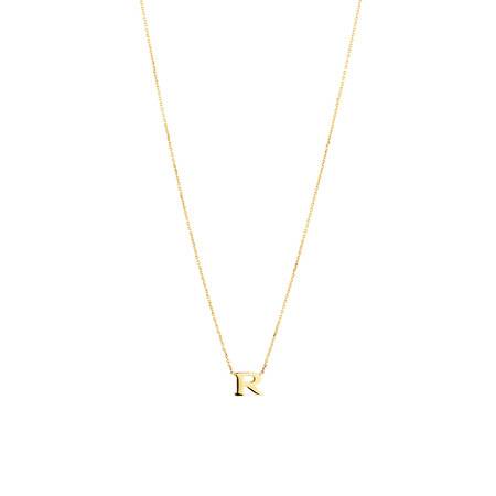 """""""R"""" Initial Necklace in 10kt Yellow Gold"""