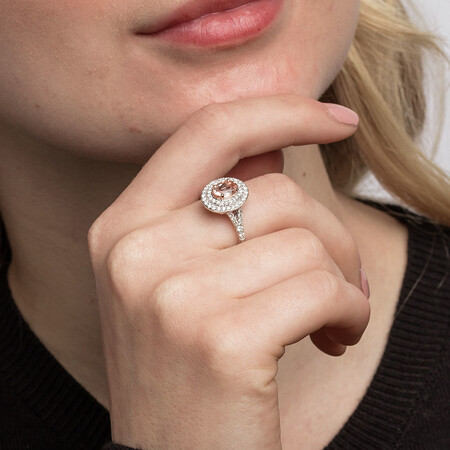 Ring with Morganite & 1/2 Carat TW of Diamonds in 10kt White Gold