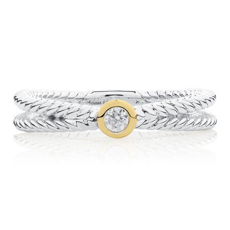 Crossover Stacker Ring with Cubic Zirconia in Sterling Silver & 10kt Yellow Gold
