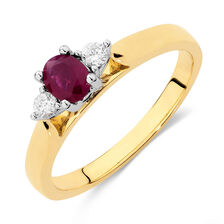Ring with Ruby & Diamonds in 10kt Yellow & White Gold
