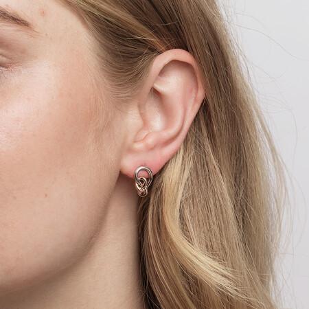 Knots Earrings in Sterling Silver & 10kt Rose Gold