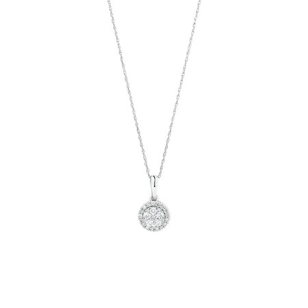 Cluster Pendant with 0.34 Carat TW of Diamonds in 10kt White Gold