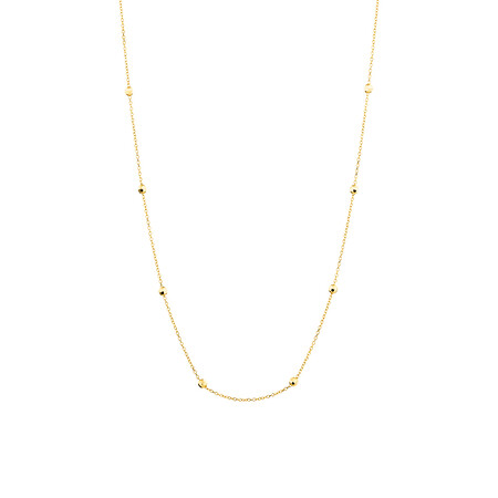 "45cm (18"") (Adjustable Bead Necklace in 10kt Yellow Gold"