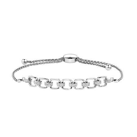 Bolo Bracelet With Diamonds In Sterling Silver