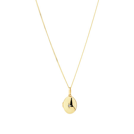 Oval diamond set Locket in 10kt Yellow Gold