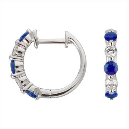 Mini Hoop Earrings with Natural Sapphire & 0.19 Carat TW of Diamonds in 10kt White Gold
